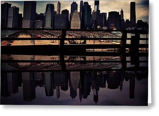Nyc Reflection Greeting Card by Stefano Papoutsakis