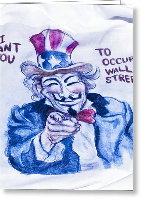 Occupy Greeting Cards - Occupy Wall Street Greeting Card by Roger Lapinski