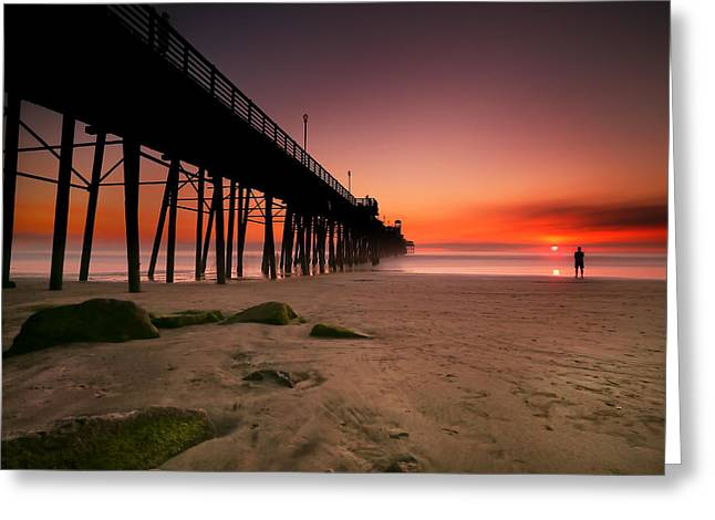 California Ocean Photography Greeting Cards - Oceanside Sunset 10 Greeting Card by Larry Marshall