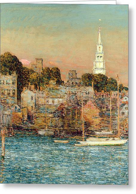 Docked Sailboats Greeting Cards - October Sundown Greeting Card by Childe Hassam