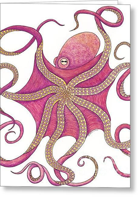 Snorkel Drawings Greeting Cards - Octopus Greeting Card by Carol Lynne