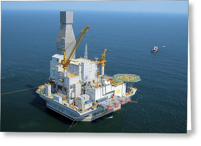 Beam Pump Greeting Cards - Off-shore Oil Rig Greeting Card by Ria Novosti