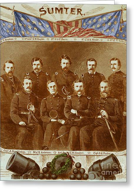 Famous Person Greeting Cards - Officers Of The Union Garrison At Fort Greeting Card by Photo Researchers