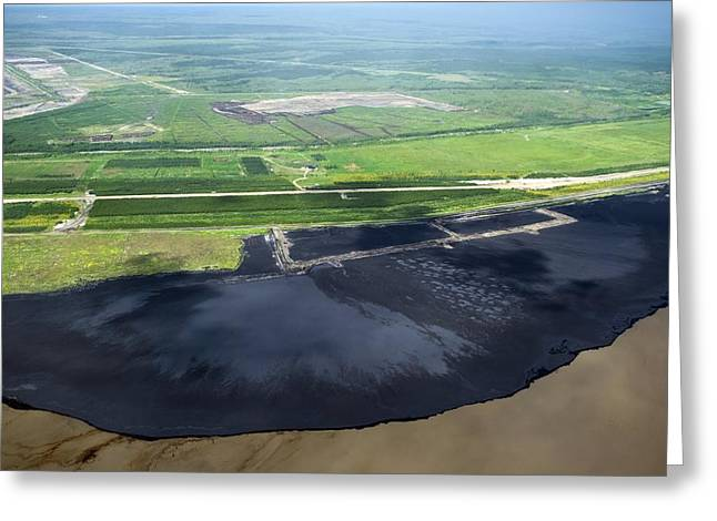 Oil Plant Settling Pond Greeting Card by David Nunuk