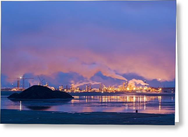 Land Reclamation Greeting Cards - Oil Refinery At Night Greeting Card by David Nunuk