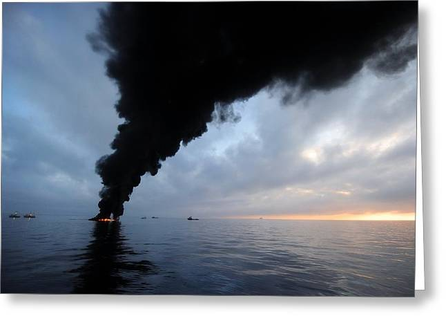 Oil Spill Burning, Usa Greeting Card by U.s. Coast Guard