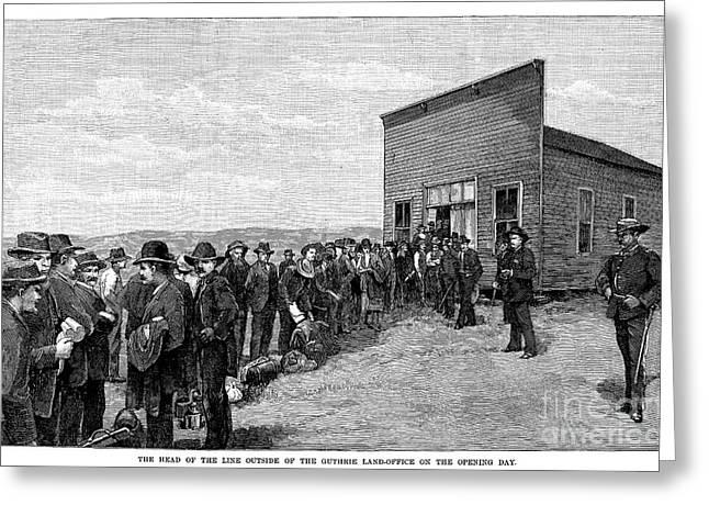 Southwest Oklahoma Greeting Cards - Oklahoma Land Rush, 1889 Greeting Card by Granger