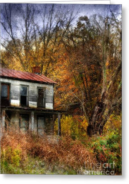 Clapboard House Greeting Cards - Old Abandoned House in Fall Greeting Card by Jill Battaglia