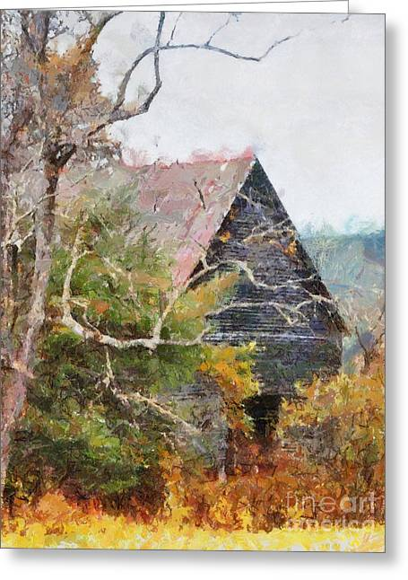 Tennessee Farm Digital Art Greeting Cards - Old Barn at Cades Cove Greeting Card by Todd A Blanchard