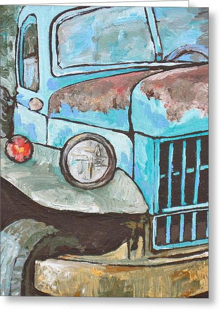 Transporation Greeting Cards - Old Blue Greeting Card by Sandy Tracey