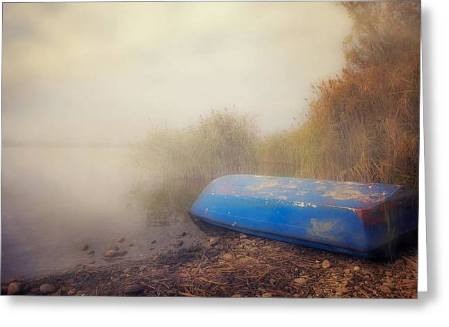 Boats In Water Photographs Greeting Cards - Old Boat In Morning Mist Greeting Card by Joana Kruse