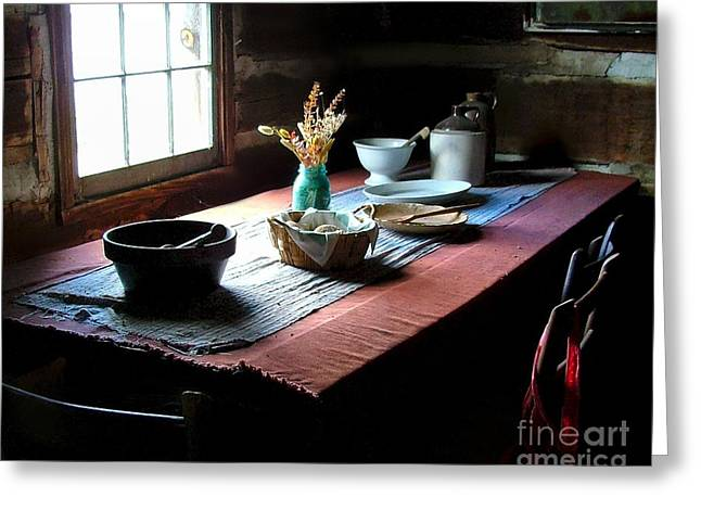 Julie Dant Photographs Greeting Cards - Old Cabin Table Greeting Card by Julie Dant