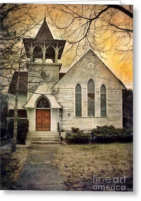 Wooden Building Greeting Cards - Old Church Greeting Card by Jill Battaglia