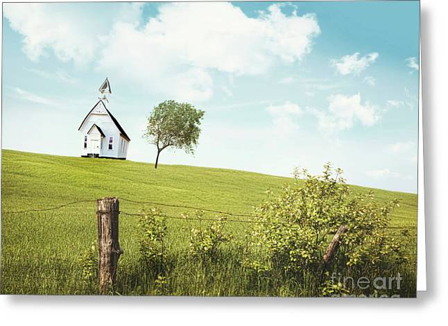 Country Schools Photographs Greeting Cards - Old country school house  on a hill  Greeting Card by Sandra Cunningham
