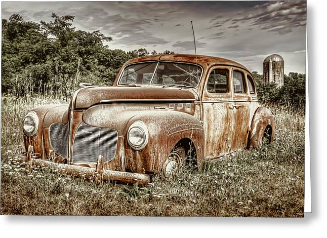 Rusted Cars Greeting Cards - Old DeSoto - Color Greeting Card by Scott Norris
