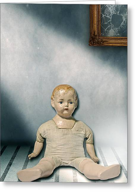 Shatter Greeting Cards - Old Doll Greeting Card by Joana Kruse
