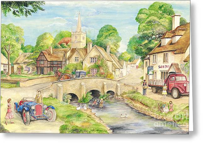 Old Town Mixed Media Greeting Cards - Old English Village Greeting Card by Morgan Fitzsimons