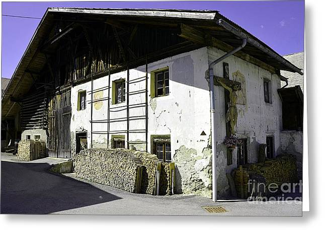 Best Sellers -  - The Wooden Cross Greeting Cards - Old farm house in Tyrol Greeting Card by Elzbieta Fazel