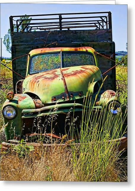 Junker Greeting Cards - Old green truck Greeting Card by Garry Gay