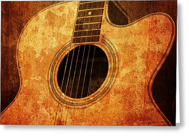 Rock Concerts Mixed Media Greeting Cards - Old Guitar Greeting Card by Nattapon Wongwean