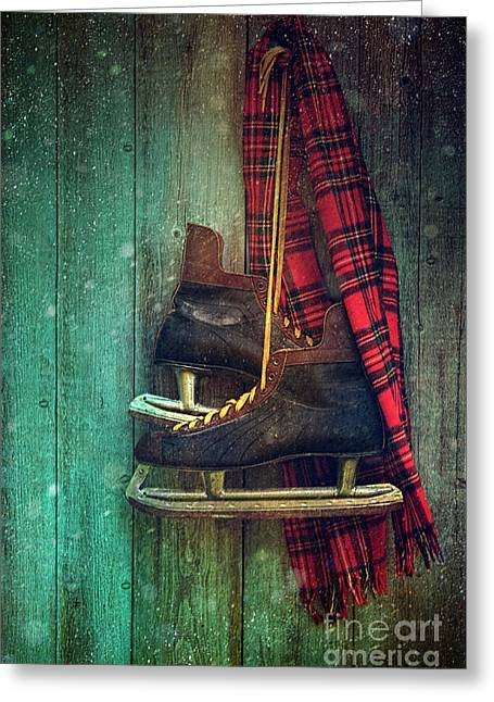 Best Sellers -  - Antique Skates Greeting Cards - Old ice skates hanging on barn wall Greeting Card by Sandra Cunningham