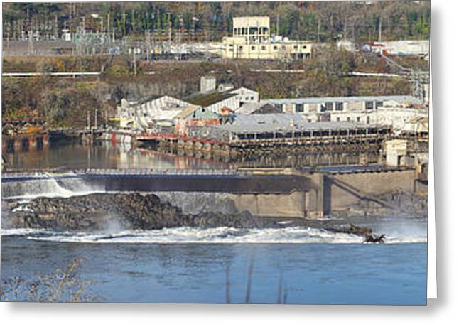 Old Roadway Greeting Cards - Old industrial complex panorama Oregon city OR. Greeting Card by Gino Rigucci