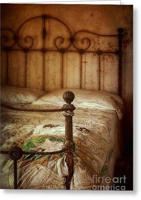Bed Quilts Greeting Cards - Old Iron Bed Greeting Card by Jill Battaglia