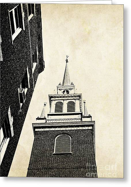 Brick Buildings Greeting Cards - Old North Church in Boston Greeting Card by Elena Elisseeva