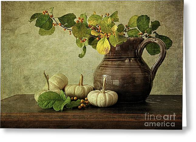 Old Pitcher Photographs Greeting Cards - Old pitcher with gourds Greeting Card by Sandra Cunningham