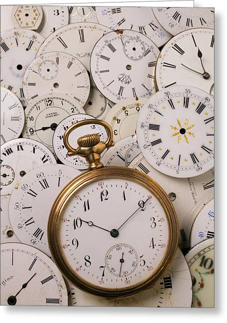 Repaired Greeting Cards - Old pocket watch on dail faces Greeting Card by Garry Gay