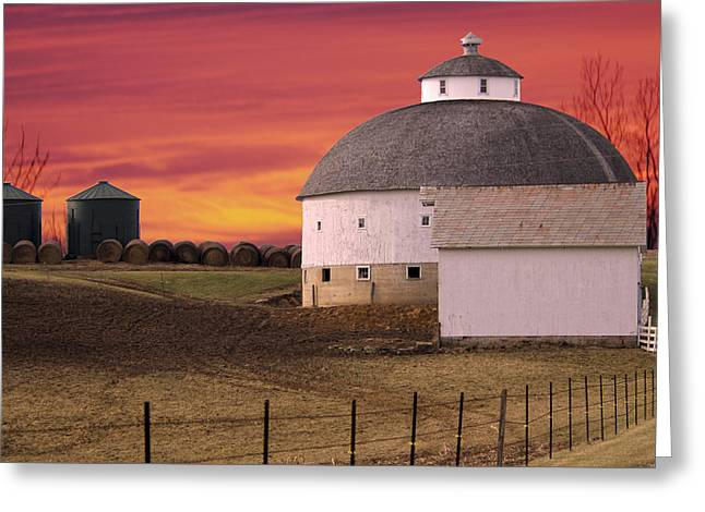 Randall Branham Greeting Cards - Old Round Barn New Round Bales  Greeting Card by Randall Branham