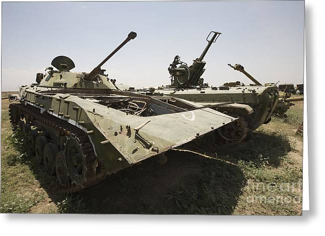 Old Relics Greeting Cards - Old Russian Bmp-1 Infantry Fighting Greeting Card by Terry Moore