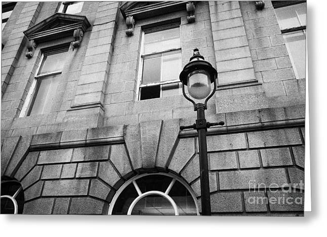 old sugg gas street lights converted to run on electric lighting aberdeen scotland uk Greeting Card by Joe Fox