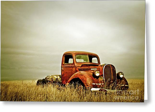 Rusty Old Trucks Greeting Cards - Old truck in field  Greeting Card by Emilio Lovisa