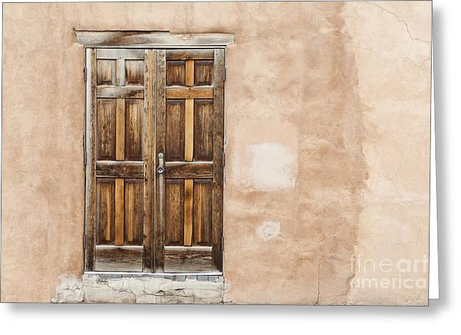 Adobe Greeting Cards - Old Wooden Doors Greeting Card by Bryan Mullennix