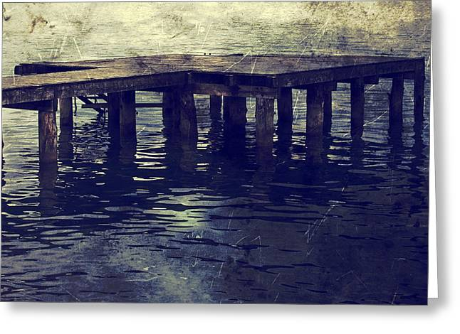 Recently Sold -  - Wooden Stairs Greeting Cards - Old Wooden Pier With Stairs Into The Lake Greeting Card by Joana Kruse