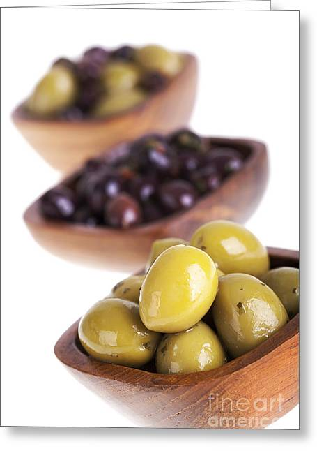 Healthy Herbs Greeting Cards - Olive bowls Greeting Card by Jane Rix