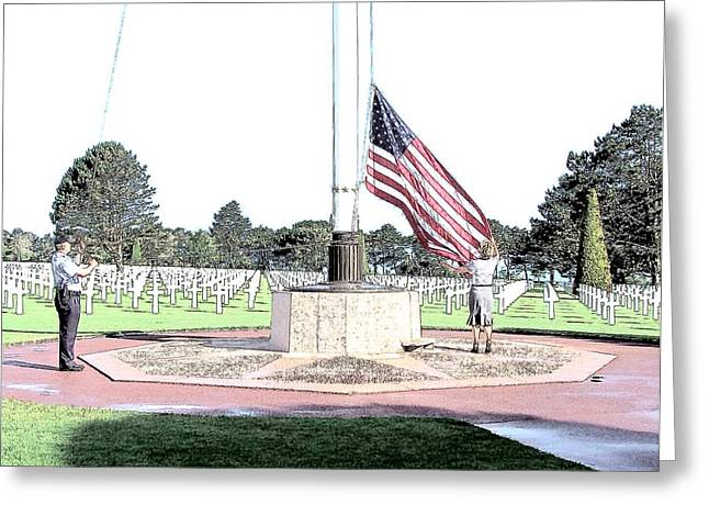 Memorial Day Drawings Greeting Cards - Omaha Beach WWII American Cemetery Greeting Card by Joseph Hendrix