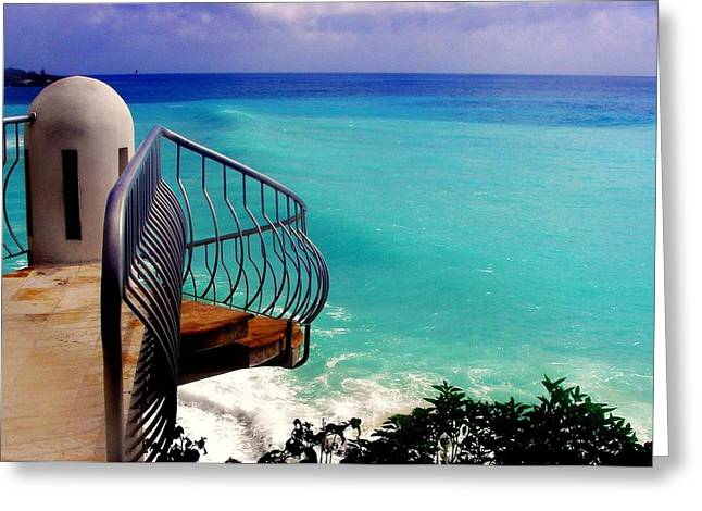 Overhang Greeting Cards - On the Edge Greeting Card by Karen Wiles
