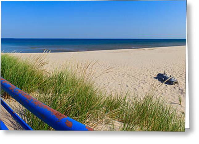 Onekama Michigan Pier And Beach Greeting Card by Twenty Two North Photography