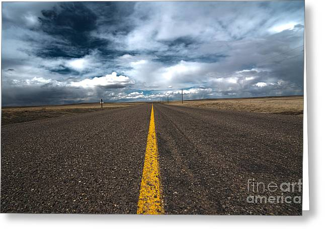 Scenic Drive Greeting Cards - Open Highway Greeting Card by Arjuna Kodisinghe
