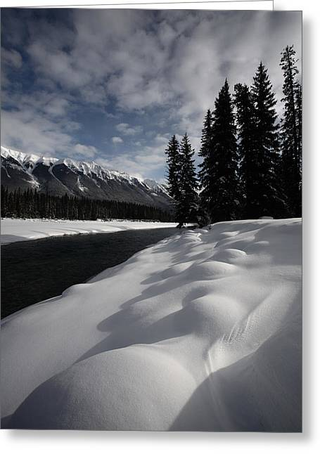 Snow-covered Landscape Greeting Cards - Open water in winter Greeting Card by Mark Duffy