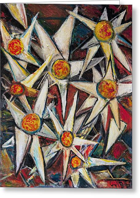 Flower Bombs Greeting Cards - OppenHeimers Daisy Manifesto Greeting Card by Jon Baldwin  Art