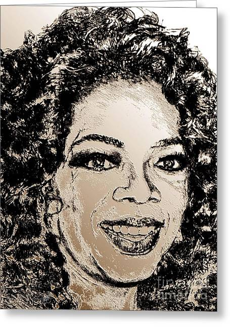 Award Mixed Media Greeting Cards - Oprah Winfrey in 2007 Greeting Card by J McCombie
