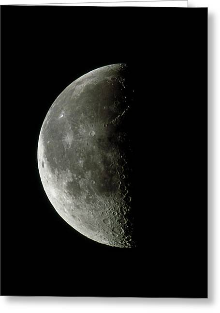 Waning Moon Greeting Cards - Optical Image Of A Waning Half Moon Greeting Card by John Sanford