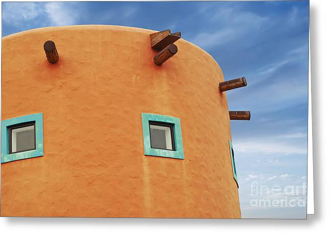 Abode Greeting Cards - Orange building detail Greeting Card by Blink Images