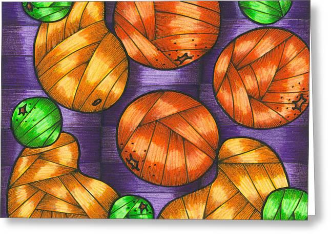 Oranges Lemons And Mangos Greeting Card by Hilda Tovar