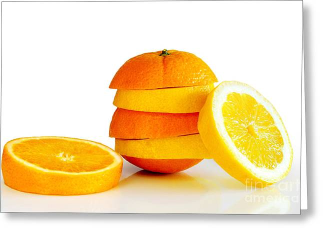 Fruits Photographs Greeting Cards - Oranje Lemon Greeting Card by Carlos Caetano