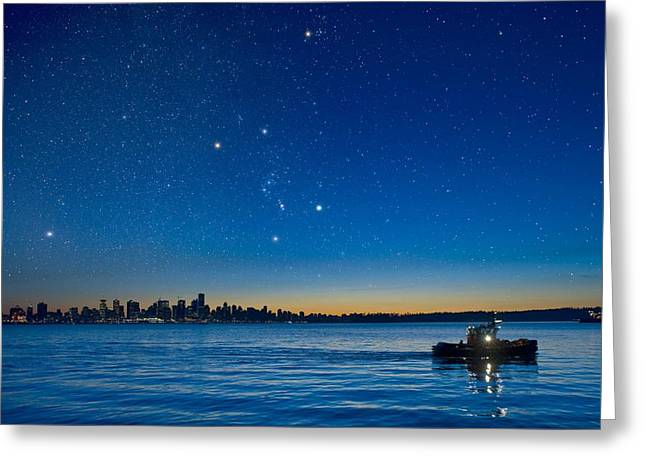 Orion Over Vancouver, Canada Greeting Card by David Nunuk