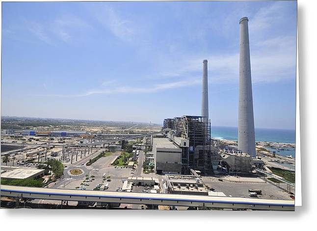 Power Plants Greeting Cards - Orot Rabin Coal Operated Power Plant Greeting Card by Photostock-israel